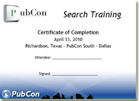 PubCon Training Certificate